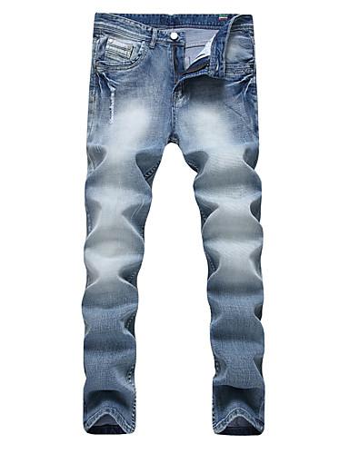 Homens Punk & Góticas Moda de Rua Tamanhos Grandes Algodão Reto Delgado Jeans Calças - Sólido