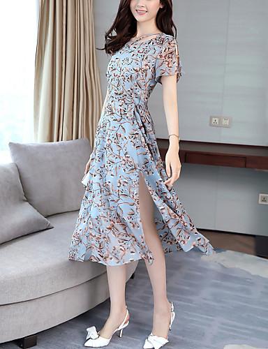 Damen Ausgehen / Strand Street Schick Chiffon Kleid - Gespleisst, Druck Midi / Sommer