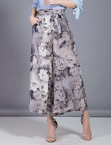 Dámské Roztomilé Jednoduchý Mikro elastické Kalhoty chinos Kalhoty Široké nohavice High Rise Květinový Šifón Mašle Vrstvené Tisk