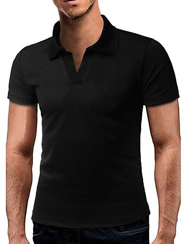 Herren Solide Freizeit Alltag T-shirt,Hemdkragen Kurzarm Baumwolle