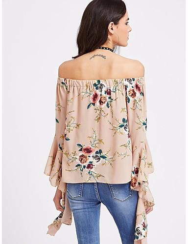 Damen Druck Einfach Lässig/Alltäglich T-shirt,Rundhalsausschnitt Langarm Baumwolle
