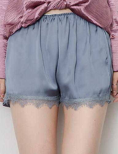 Dámské Na běžné nošení Lehce elastické Volné Kraťasy Kalhoty Mid Rise Jednobarevné Léto