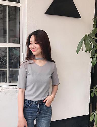 Damen Solide Retro Lässig/Alltäglich T-shirt,Rundhalsausschnitt Kurzarm Baumwolle Polyester