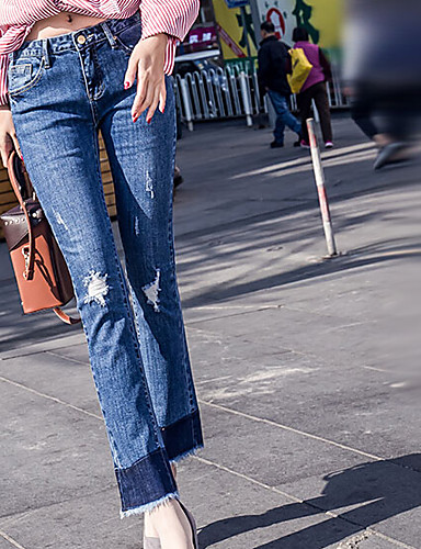 Damen Mittlere Hüfthöhe Jeans Gerade Hose einfarbig