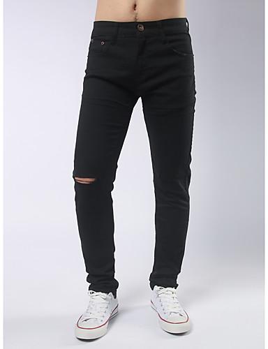 Pánské Jednoduchý Šik ven Mikro elastické Upnuté Kalhoty Štíhlý Mid Rise Jednobarevné