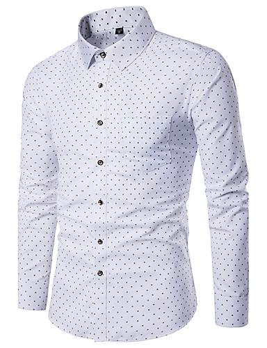 Herren Geometrisch Einfach Lässig/Alltäglich Hemd,Hemdkragen Alle Saisons Langarm Polyester