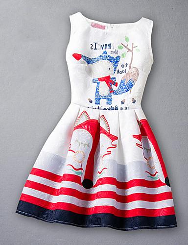 Dívka je Umělé hedvábí Tisk Žakár Léto Šaty,Bez rukávů