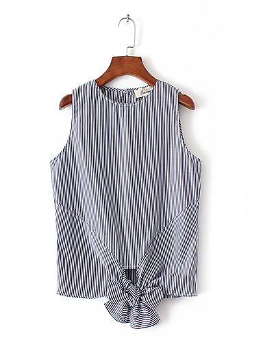 Damen Gestreift Einfach Sexy Street Schick Ausgehen Lässig/Alltäglich T-shirt,Rundhalsausschnitt Sommer Ärmellos Baumwolle Dünn Mittel