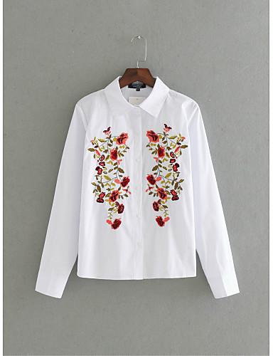 Dámské Výšivka Jednoduchý Sexy Šik ven Košile-Léto Bavlna Košilový límec Dlouhý rukáv Tenké Střední