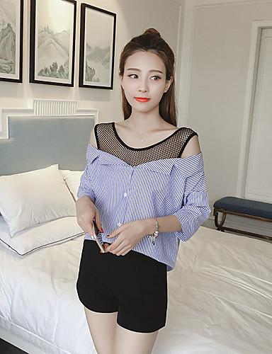Damen Gestreift Sexy Lässig/Alltäglich Hemd,Rundhalsausschnitt Kurzarm Baumwolle