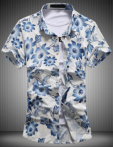 Pánské - Květinový Vintage Šik ven Košile, Potisk Bavlna Stojáček
