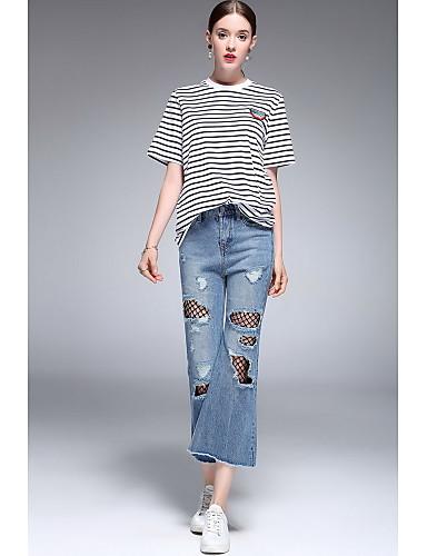 Dámské Jednoduchý Mikro elastické Flare Kalhoty Štíhlý Mid Rise Ripped