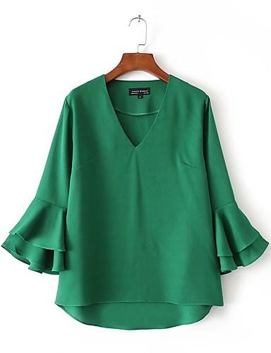 Damen Solide Sexy Einfach Street Schick Ausgehen Lässig/Alltäglich T-shirt,V-Ausschnitt Sommer Langarm Baumwolle Dünn Mittel