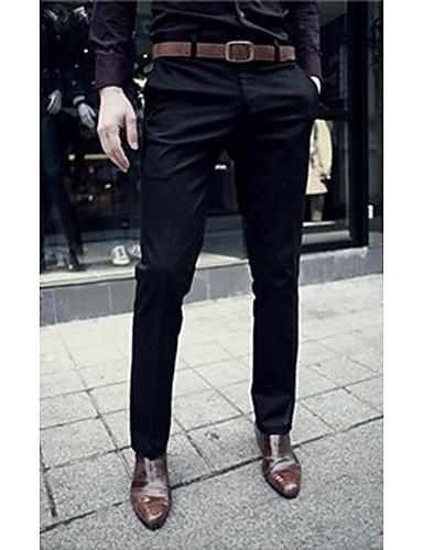 お買い得  メンズパンツ&ショーツ-男性用 ベーシック プラスサイズ ワーク 週末 スリム スーツ / スリム / ビジネス パンツ - ソリッド 純色 ブラック ダックグレー ベージュ 32 33 28