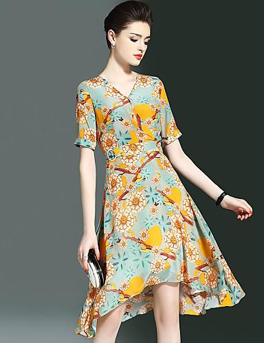 Damen Ausgehen Einfach / Street Schick Lantern Sleeve Seide A-Linie Kleid Druck Asymmetrisch V-Ausschnitt / Sommer