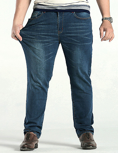 Pánské Větší velikosti Bavlna Rovné Volné Džíny Kalhoty Jednobarevné