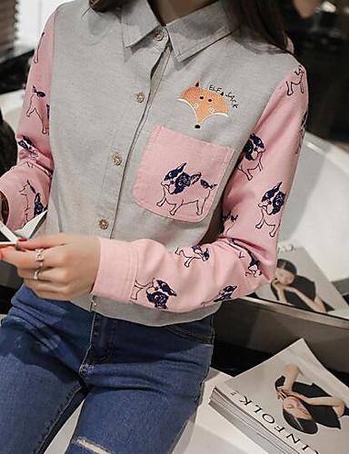 Damen Einfarbig - Freizeit Baumwolle Hemd, Ständer / Frühling