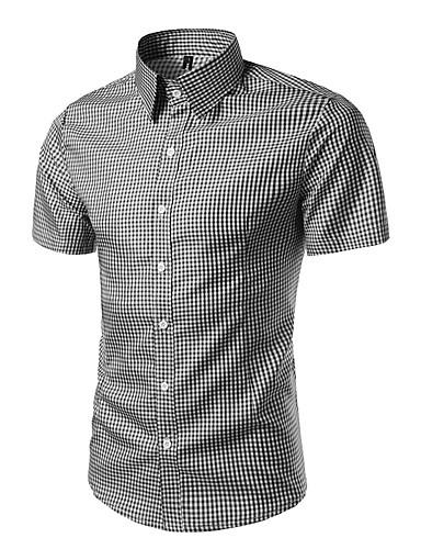 Pánské Proužky Denní Práce Na běžné nošení Košile Polyester Košilový límec Krátký rukáv