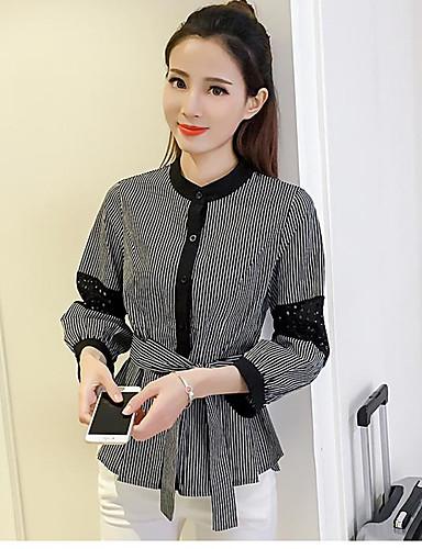 Damen Solide Einfach Lässig/Alltäglich Hemd,Stehkragen Sommer Baumwolle Undurchsichtig