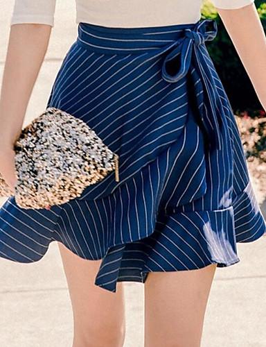 Women's Going out Asymmetrical Skirts A Line Striped Summer