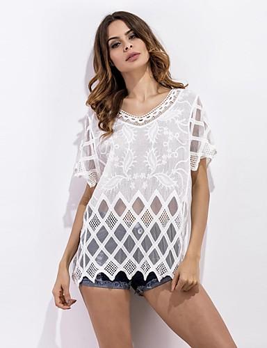 Damen Solide Sexy Niedlich Ausgehen Strand Hemd,V-Ausschnitt Frühling Sommer Kurzarm Polyester Mittel