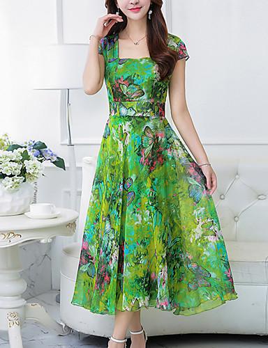 Mulheres Tamanhos Grandes Para Noite Boho Chifon / balanço Vestido - Estampado, Floral Decote Quadrado Longo