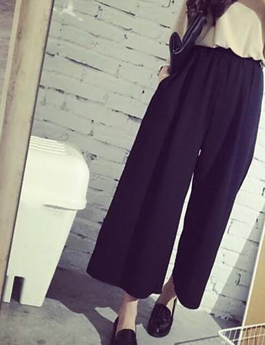 Dámské Šik ven Mikro elastické Volné Kalhoty Volné Široké nohavice High Rise Jednobarevné