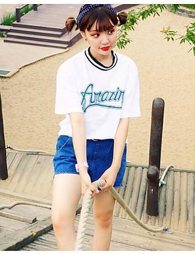 Damen Solide - Retro / Street Schick Ausgehen Baumwolle T-shirt Druck