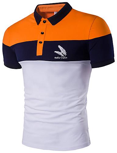 Pánské Barevné bloky Denní Na běžné nošení Polo Bavlna Polyester Košilový límec Krátký rukáv