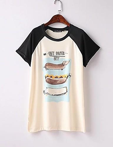 Damen Einfarbig Sexy Einfach Street Schick T-shirt,Rundhalsausschnitt Sommer Kurzarm Baumwolle Dünn Mittel