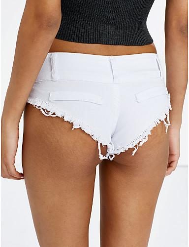 Mulheres Casual Micro-Elástica Jeans Calças, Algodão Verão Sólido