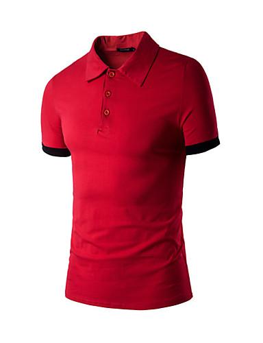 Herren Solide Einfach Alltag T-shirt,Hemdkragen Sommer Kurzarm Baumwollmischung Dünn