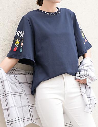 Damen Buchstabe Niedlich Lässig/Alltäglich T-shirt,Rundhalsausschnitt Sommer Kurzarm Baumwolle
