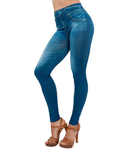 Mulheres Denim Legging - Sólido Cintura Média