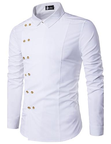 hesapli Erkek Gömlekleri-Erkek Pamuklu Klasik Yaka İnce - Gömlek Solid Günlük Siyah / Uzun Kollu / Bahar / Sonbahar