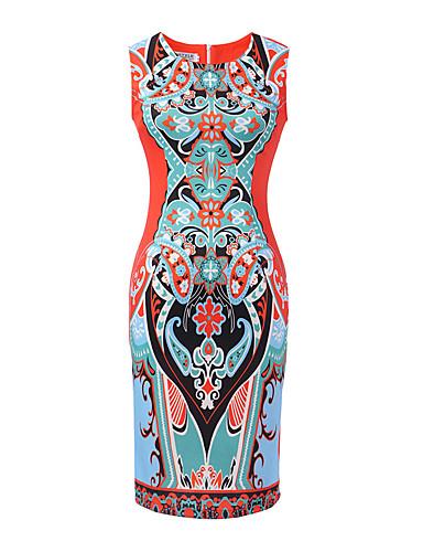 Naiset Vartalonmyötäinen Mekko Vintage Rento/arki,Painettu Pyöreä kaula-aukko Reisipituinen Hihaton Polyesteri Spandex Kesä Korkea vyötärö