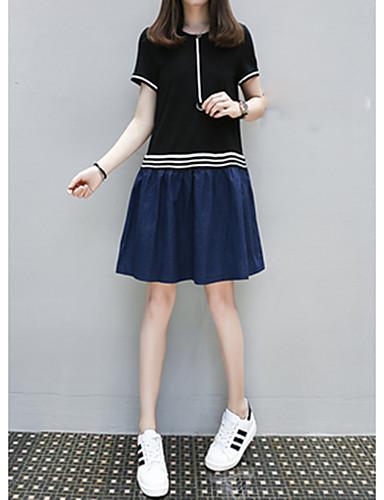 Damen Solide Einfach Niedlich Ausgehen Lässig/Alltäglich T-shirt,Rundhalsausschnitt Kurzarm Baumwolle Mittel