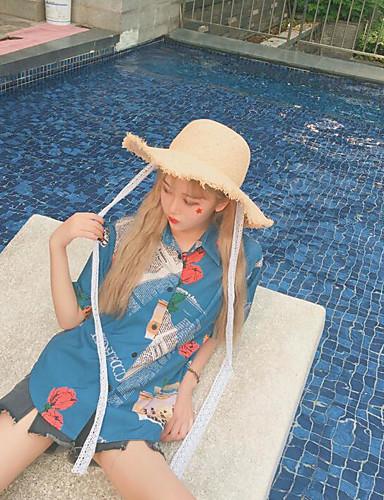 Damen Druck Retro Ausgehen Hemd,Hemdkragen Kurzarm Baumwolle