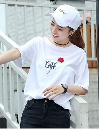 Damen Stickerei Einfach Ausgehen Lässig/Alltäglich T-shirt,Rundhalsausschnitt Kurzarm Polyester