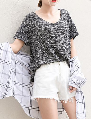 Dámské - Jednobarevné Jednoduchý Tričko Bavlna