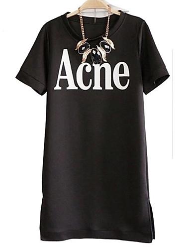 Damen Buchstabe Einfach Lässig/Alltäglich T-shirt,Rundhalsausschnitt Sommer Kurzarm Baumwolle Undurchsichtig