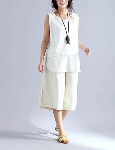 Dámské Jednoduchý Není elastické Kalhoty chinos Kalhoty Široké nohavice High Rise Jednobarevné