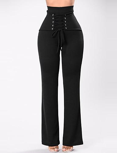 Mulheres Cintura Alta Perna larga Calças - Sólido, Côr Pura