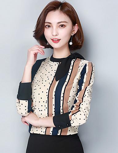 Mulheres Blusa - Trabalho Estampa Colorida Raiom Colarinho Chinês