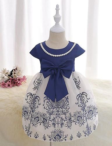 Dívka je Bavlna Polyester Satén Květiny Šaty, Krátký rukáv Květinový Fialová