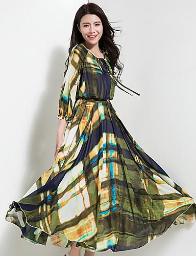 Mulheres Boho Chifon balanço Vestido Estampa Colorida Longo