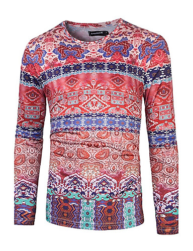 Herren Druck Aktiv Normal T-shirt,Rundhalsausschnitt Alle Saisons Langarm Baumwolle Polyester Mittel