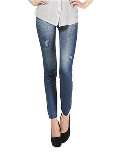 Naiset Yksinkertainen Erittäin elastinen Skinny Leggingsit Viehe Housut,Keski vyötärö Polyesteri Farkut Tulostus Kevät Kesä Syksy