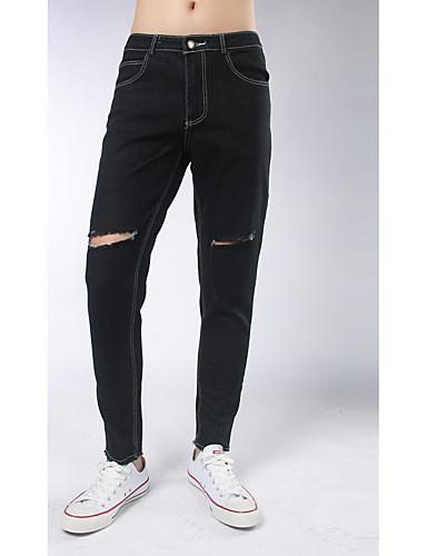Herren Einfach Street Schick Mittlere Hüfthöhe Mikro-elastisch Eng Skinny Hose einfarbig Tarnfarben