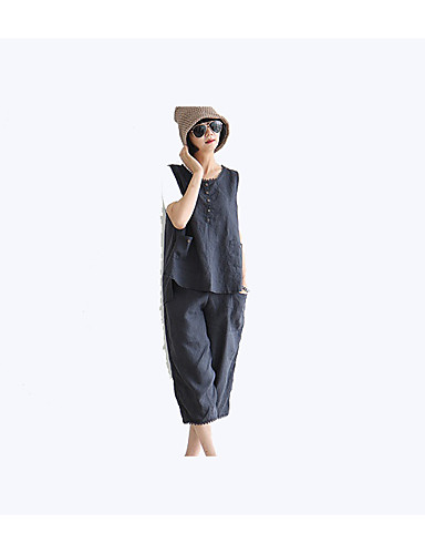 Damen Solide Einfach Lässig/Alltäglich Hemd,Rundhalsausschnitt Ärmellos Leinen